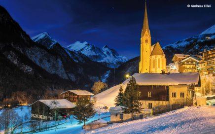 Beleuchtete Skipiste beim Jugendgästehaus Heiligenblut - © Andreas Fillei