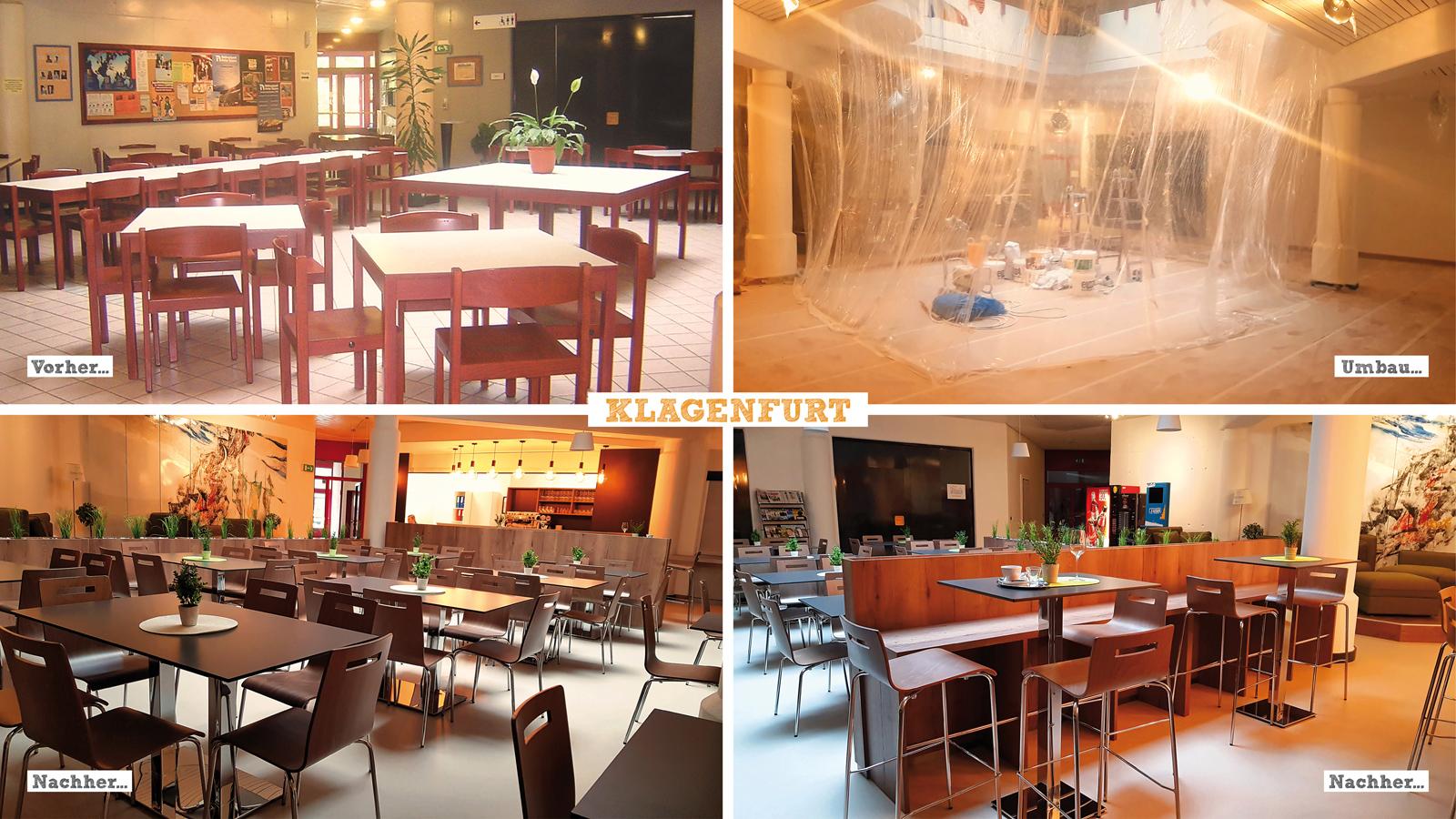 Umbau der neuen Lobby im Jugendgästehaus Klagenfurt