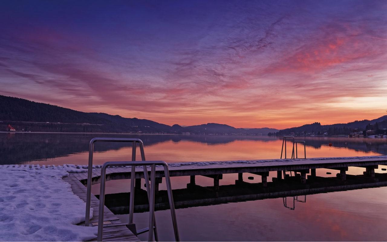 Jugendgästehaus Velden Cap Wörth Privatstrand Sonnenaufgang Winter - © Christoph Sammer